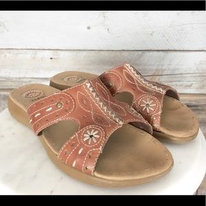 EARTH SPIRIT Leather Embroidered Women's Sandals